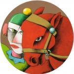 Payaso con caballo rojo: T. mixta sobre tabla de 34 cm. 2008